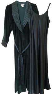 Jones New York Gown Satin Top Forest Green Velveteen