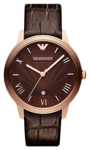 Emporio Armani Emporio Armani Men's Brown Leather Rose Gold Tone Stainless Steel Watch AR1613