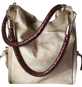 Michael Kors Snakeskin Great Hardware Woven Leather Details Shoulder Bag