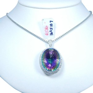 STUNNING OVAL SHAPE MYSTIC QUARTZ PENDANT IN HALO SETTING 14KT WHITE GOLD