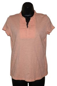 Talbots V-neck Stretchy Cotton Petite Top Peach