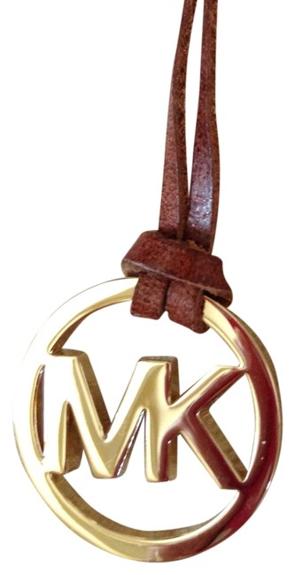 Item - Gold/ Brown Goldtone M.k. Purse Charm/Hangtag with Leather Strap Excellent Condition Charm