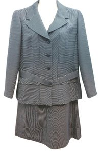 Chanel CHANEL STRIPED WOOL SILK BLEND SKIRT SUIT 50