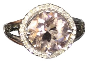 Morganite APPEALING CUSHION SHAPE MORGANITE RING IN HALO SETTING 14KT WHITE GOLD