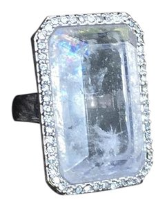 Kate Spade Kate Spade rock rectangle crystal silver ring w/rhinestones