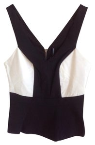 W118 by Walter Baker Contemporary Color-blocking Black and White Halter Top