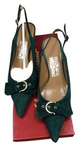 Salvatore Ferragamo Suede Green Kitten-heel Emerald Green Pumps