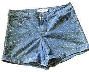 One5One Denim Polka Dot Pet And Smoke Free Cuffed Shorts Blue