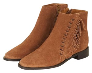 Topshop 70s Leather Suede Fringe Boho Tan Boots