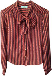 Karlie Colored Blouse Striped Blouse Chevron Polka Dot Striped Button Down Shirt