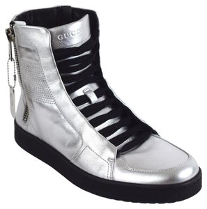 Gucci 376191 High-top Leather Sneaker Gg Silver Athletic