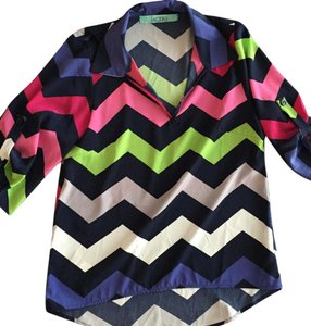 Karlie Chevron Sexy Blouse Cute Work Top Multi