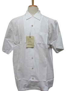Tommy Bahama TOMMY BAHAMA White 100% Cotton Button Front Camp Shirt Size: M