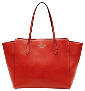 Gucci 354397 Leather Tote in orange red