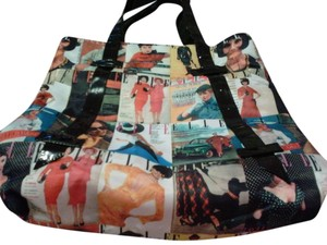 Perry Ellis Tote in black patent leather and different style prints