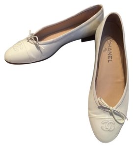 Chanel White Patent Leather Flats