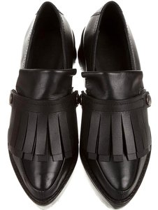 Tibi Leather Fringe Loafer Platform black Flats