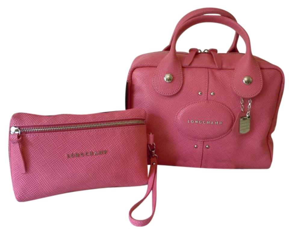 be6597442aa3 Longchamp Quadri Set Nwot Satchel and Clutch Made In France Pink Leather  Cross Body Bag