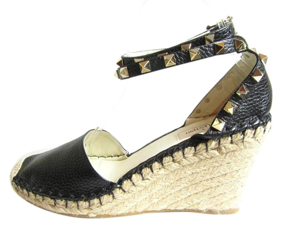447fdb9ff6a Valentino Black Rockstud Double Espadrille Leather Wedges Size US 7 ...