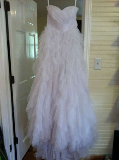 Galina Soft White Tulle Strapless Dot Ball Gown with Ruffle Skirt Style Pk 3357 Feminine Wedding Dress Size 8 (M)