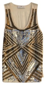 Amanda Uprichard Top Cream with gold & silver sequins