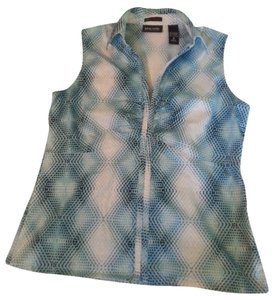 New York & Company Geometric Print Ny & Sleeveless Top multi