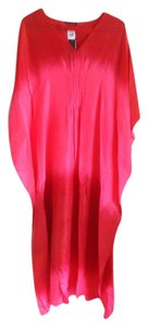 Pink and Red Maxi Dress by Natori Maxi Silk