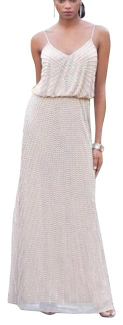 Item - Blush and Silver Beads Vintage Inspired Long Formal Dress Size 4 (S)