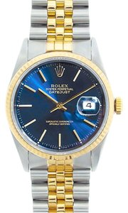 Rolex Rolex Men's DateJust Two-Tone Blue Stick Dial Watch 16013