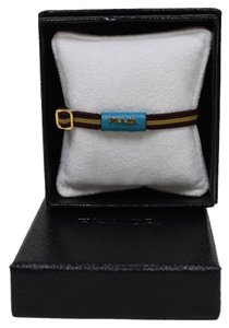 Prada Prada Small Brown Elastic Blue Leather Bracelet 2AJM91