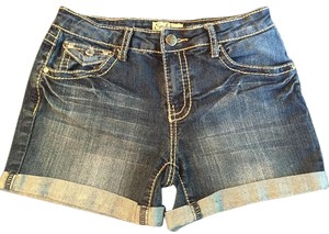 Earl Jean Crystal Studded Vintage Wash Top-stitching Cuffed Shorts jeans