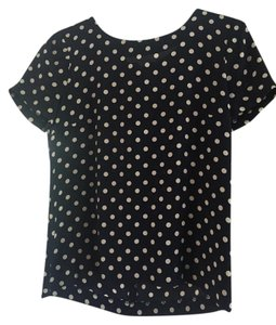 J.Crew Silk Top Navy and White Polka Dot