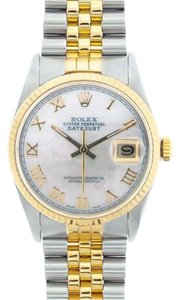 Rolex Rolex Men's DateJust Two-Tone White Mother of Pearl Dial Watch 16013