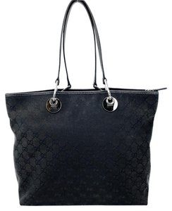 Gucci Canvas Leather Gg Signature Tote in Black