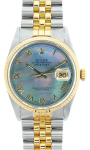 Rolex Rolex Men's DateJust Two-Tone Black Mother of Pearl Roman Dial Watch 16013