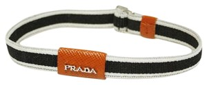 Prada Prada Black & White Elastic Orange Leather Bracelet 2AJM91