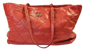 Chanel Quilted Large Tote in red
