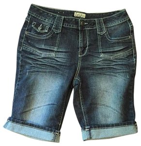 Earl Jean Denim Blue Pet And Smoke Free Cuffed Stitched Pockets Bermuda Shorts Dark Blue
