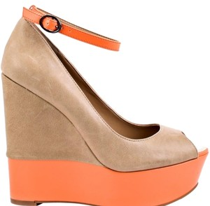 Jessica Simpson Tan/Neon Orange Platforms