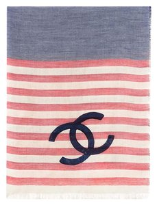 Chanel Chanel Blue Cashmere/Modal/Silk Stole Scarf Large CC Logo 76