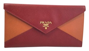 Prada Wallet Red/ Orange Clutch