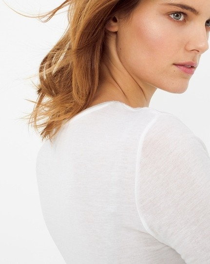 best White House | Black Market New Featherweight Long Sleeve Tee T Shirt White - 48% Off Retail