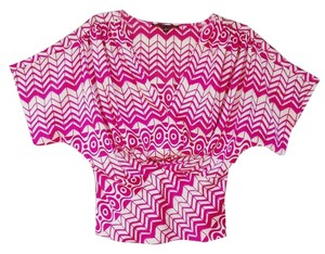 Cynthia Steffe Retro Office Evening Casual Top Dark Pink and White