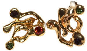 24kt-Gold Plated Pewter Rhinestone Abstract Colorful Earrings