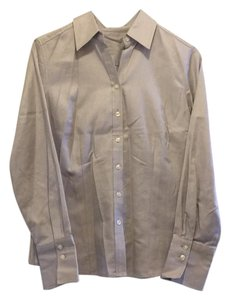 Ann Taylor Button Down Shirt gray and white