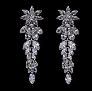 Gorgeous Marquise Flower Bridal Earrings