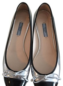 Prada Black and Silver Flats