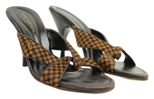 Louis Vuitton Ponyhair Ebene Damier Sandals