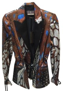 Roberto Cavalli Brown Black & Blue Blazer