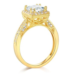Solid 14k Yellow Gold 2.40 Ct Man Made Diamond Engagement Ring Sizes 5 6 7 8 9 10
